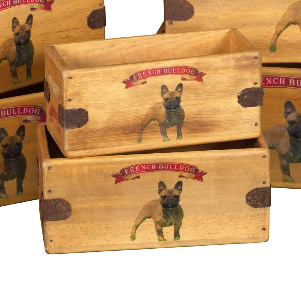French Bulldog Vintage Box Wooden Crate